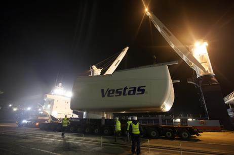 The nacelle for Vestas' 8MW is on its way to being installed at Denmark's national test centre in Østerild.
