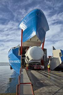 Siemens has unveiled its new Roll-on-Roll-off vessel for component transfer
