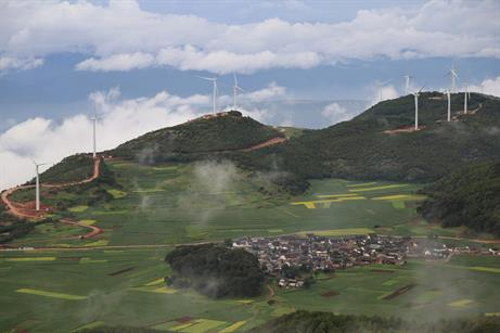 The 49.5MW Baishanmu wind project, 3,500-3,800 metres above sea level, Yunnan Province, China. It uses 1.5MW turbines