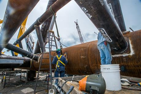 Deepwater Wind contracted Gulf Island Fabrication to construct jacket foundations