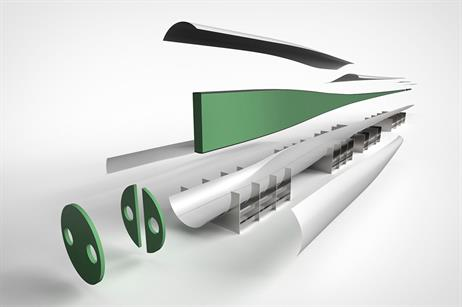 The glass-fibre stiffening rings and spar box (green), bound by a carbon layer, are fitted together and closed in the shell