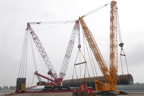 The terminal is responsible for storing 75 of the 150 monopile foundations, which will support the Siemens 4MW turbines