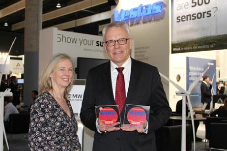 Klaus Steen Mortensen, President of Vestas Northern Europe receives two awards:  Turbine of the Year Best Drivetrain 2013 for the Vestas 2MW DFIG platform, and Best Innovation 2013 for its V164-8.0MW chassis.