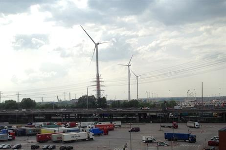 The tallest Nordex turbine is Eurogate's recent addition. The other two, Nordex again, were installed by Hamburg Port