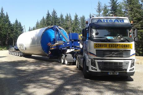 Towers being delivered to the Bois de la Serre site in the Black Mountain region of France