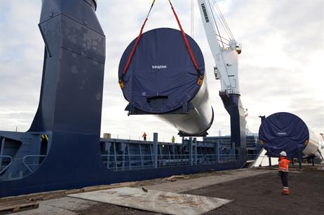 The towers being loaded and ready to be transported from Aalborg to Hanstholm, Denmark