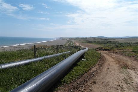 The 1,170-metre landfall pipes are taken to Dudgeon, ready for installation