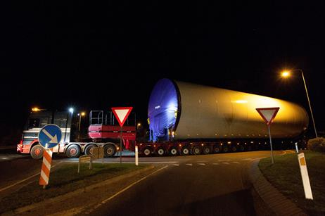 One part of the 133 metre tower being transported to the prototype site in Østerild