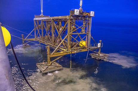 MAY: A piling template is removed at Iberdrola's Wikinger site following tests