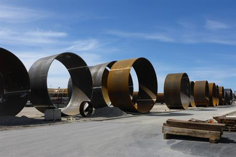 The monopiles are 66.5 metres long with a diametre of 7.5 metres