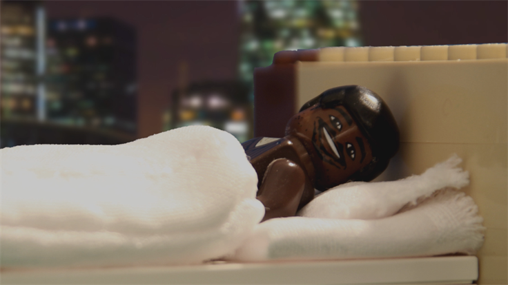 Lego Lenny Henry in the version of a Premier Inn ad