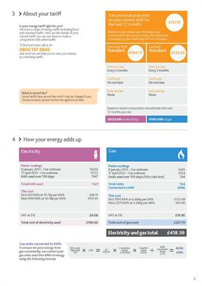 Npower's new-look de-cluttered bill
