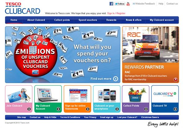 The previous Tesco Clubcard website