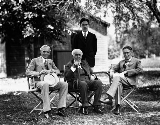 Harvey Firestone (right) with Henry Ford and Thomas Edison