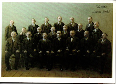 At first glance this is an austere formal portrait of work colleagues or perhaps a board of directors some time back in history. On closer inspection, check out the guy third from the left… like me, someone who clearly doesn't follow the rules.
