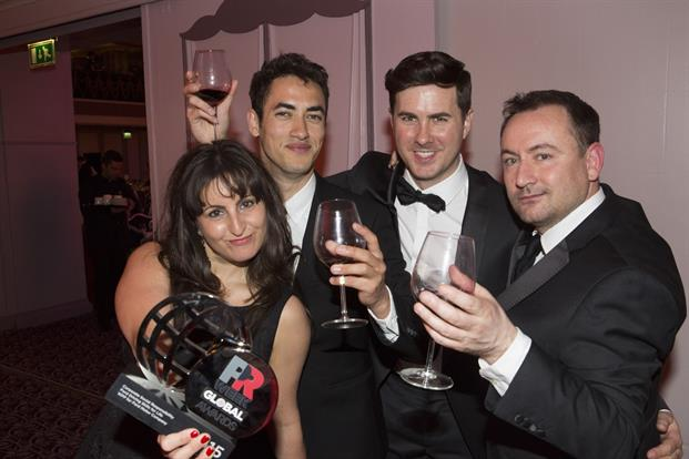 The WPP team toasted their victory after bagging the award for corporate social responsibility campaign of the year with its work for Ford.