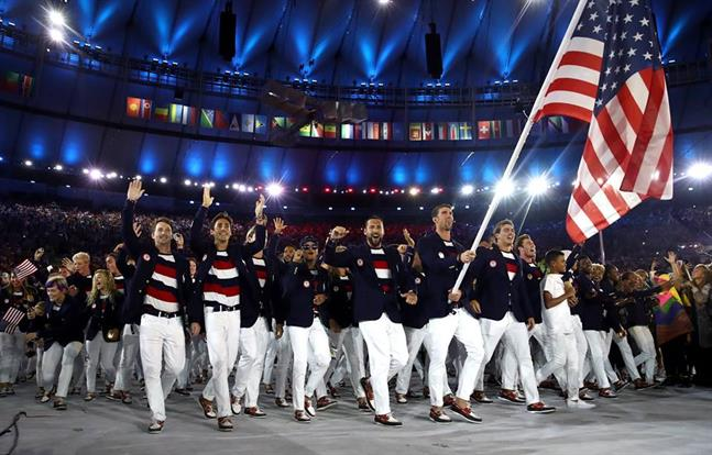 The U.S. men's swimming team taking the world stage for the first time. [Image via Men's Swimming Facebook.]