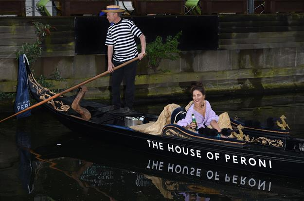 Margherita Maccapani Missoni arrives by Gondola for the launch of The House of Peroni Residency at Proud East in Haggerston