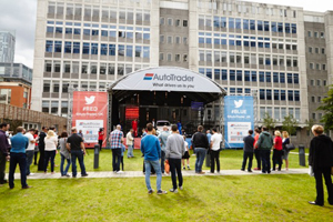 in pictures auto trader holds live twitter powered clash for rival football clubs autotrader london office 1