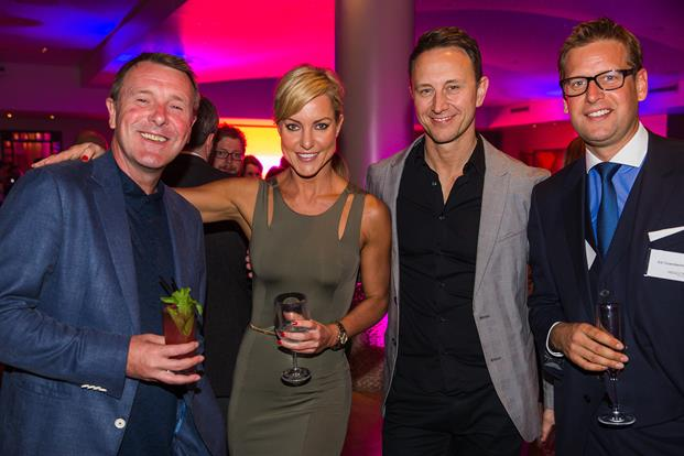 English former cricketer Phil Tuffnell, Strictly Come Dancing dancers and sports broadcaster Ed Chamberlain at the Paragon One Live Partner party