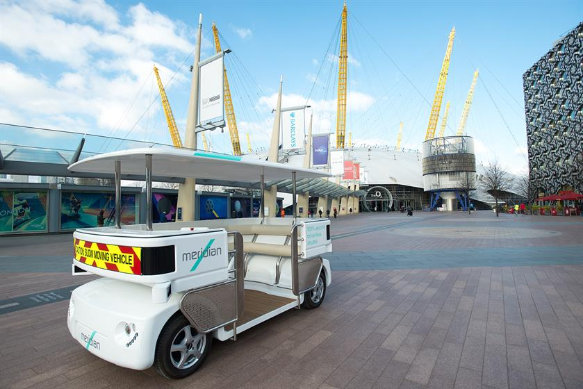 The fully driverless Meridian Shuttle in Greenwich