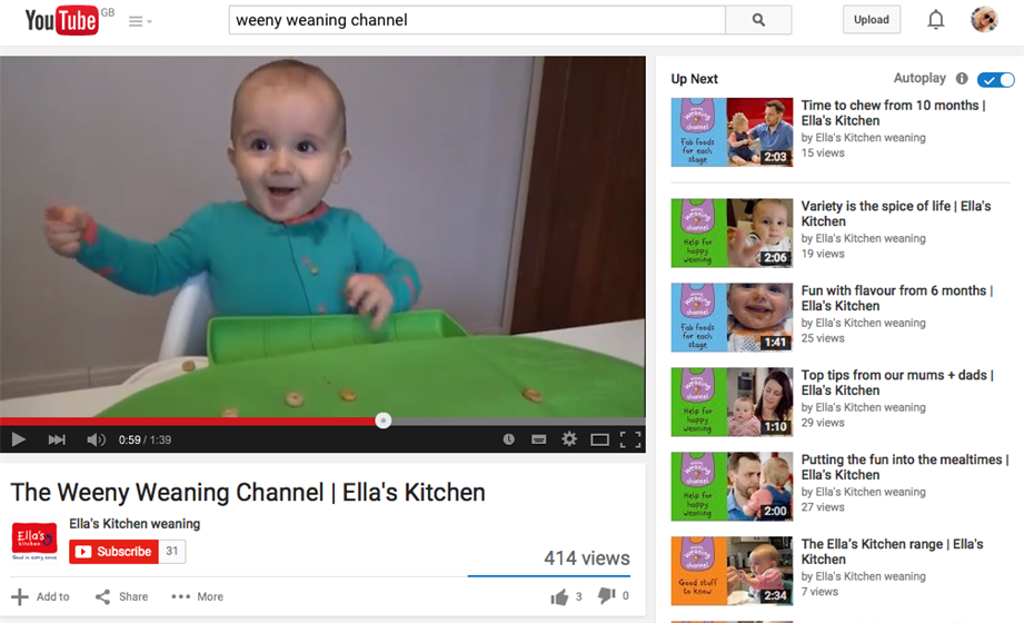 Ella's Kitchen's new YouTube weaning channel