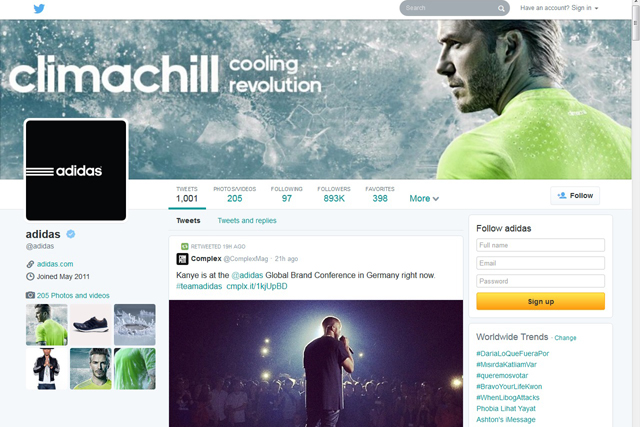 Adidas's new look Twitter profile