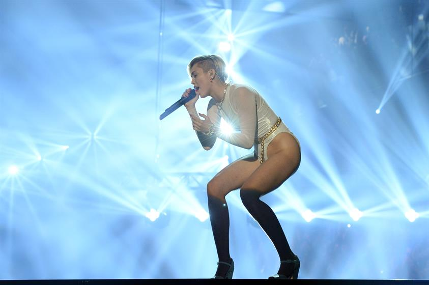Miley Cyrus singing her hit 'Wrecking Ball' which won best video