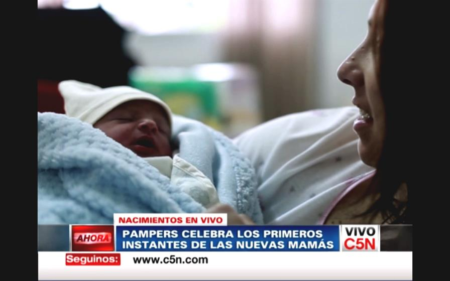 Pampers 'giving birth'