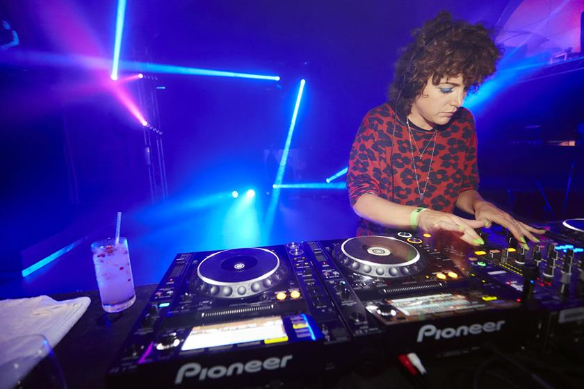 Annie Mac DJs at the party