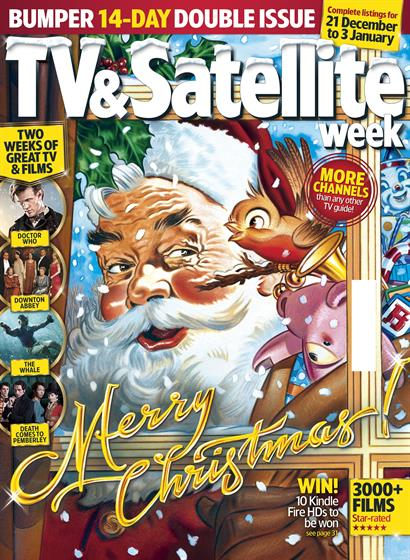 The illustrated cover of IPC Media's TV & Satellite Week, with Santa and his friendly robin sidekick.