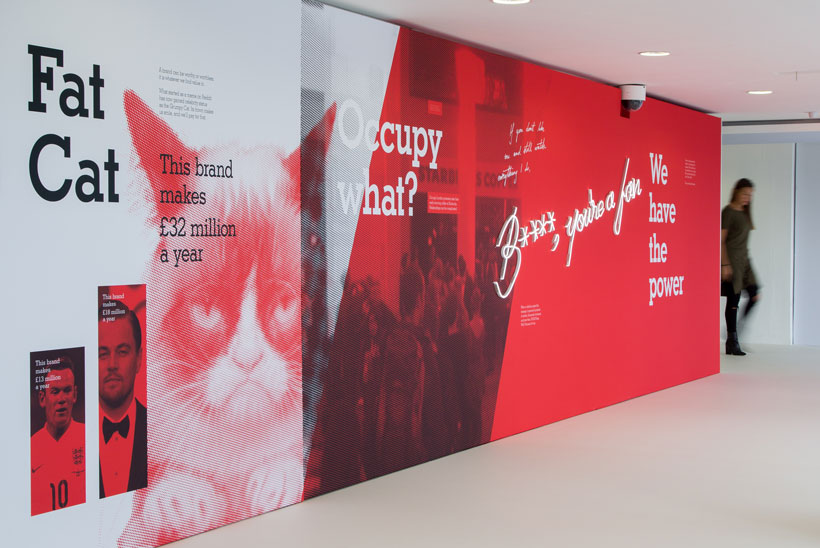 Installation view of Like me: Our bond with brands exhibition.