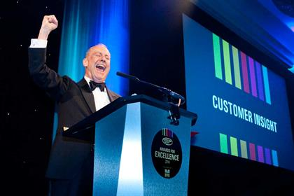 Gyles Brandreth gets super excited for the Customer Insight Award