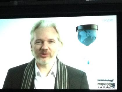 Wikileaks' Julian Assange speaking via live video link from inside the Ecuadorian embassy in the UK.