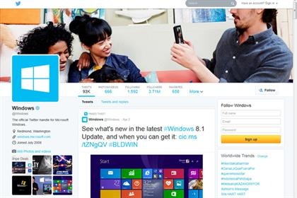 Windows' new look Twitter profile