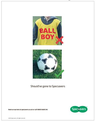 5. Specsavers, 'ball boy'