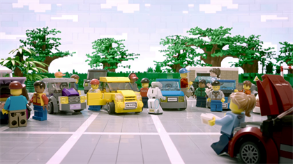 A scene from the Lego version of Confused.com's ad