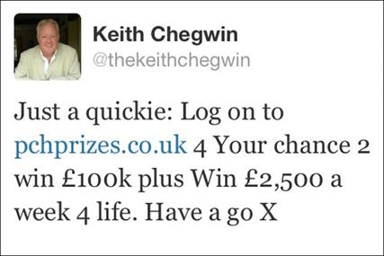 Keith Chegwin: ASA rules that his tweet on behalf of PCH was misleading