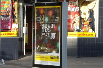 Clear Channel Outdoor: bus shelter screen in Above Bar Street, Southampton