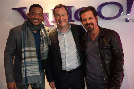 Spot the superstar: Will Smith, Yahoo's James Wildman and Josh Brolin