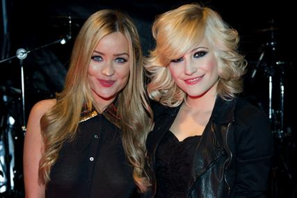 MTV Presents Titanic Sounds: presenter Laura Whitmore with performer Pixie Lott