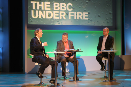 RTS convention: James Purnell (left) urged BBC chief Mark Thompson (right) not to make drastic cutbacks
