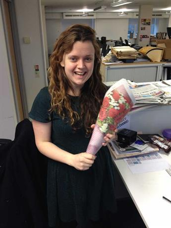 Campaign's news editor Maisie McCabe models Carphone Warehouse's cheapskate flowers