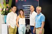 (Left to right) Chris Pearce, joint chief executive, TMW Unlimited; Natalie Price, creative production assistant, TMW Unlimited;  Tim Bonnet, chairman, Creston Communications and Insight; and Barrie Brien, group chief executive, Creston