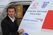 Beckham signs BA plane for England 2018 World Cup bid