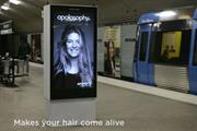 Swedish subway digital stunt sends woman's hair flying