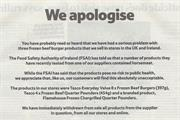 Tesco print ads apologise for horsemeat in burgers