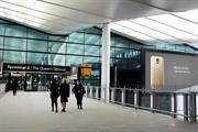 Burberry, Samsung and Vodafone advertise at Heathrow Terminal 2