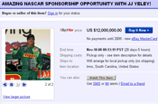 Sports marketing firm puts Nascar sponsorship up for sale on eBay