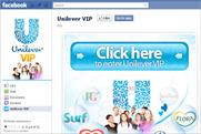 Unilever: adding a dedicated corporate-branded page to its Facebook account